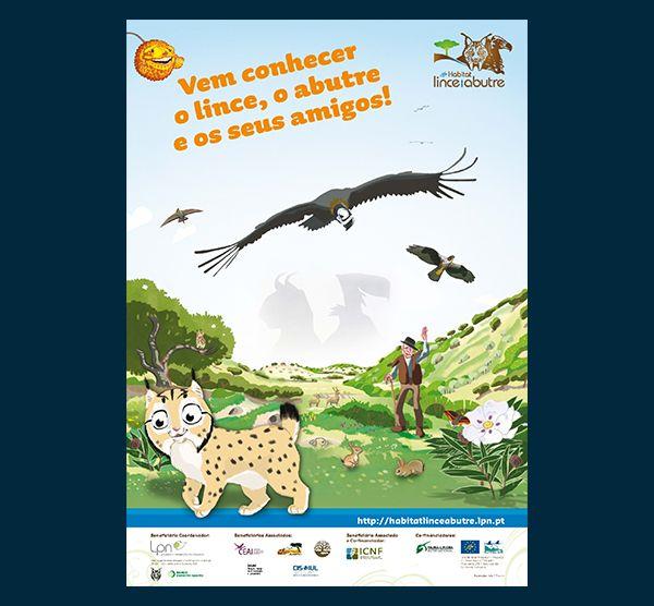 Poster Infantil LIFE Habitat Lince Abutre - Vem conhecer o lince, o abutre e os seus amigos!